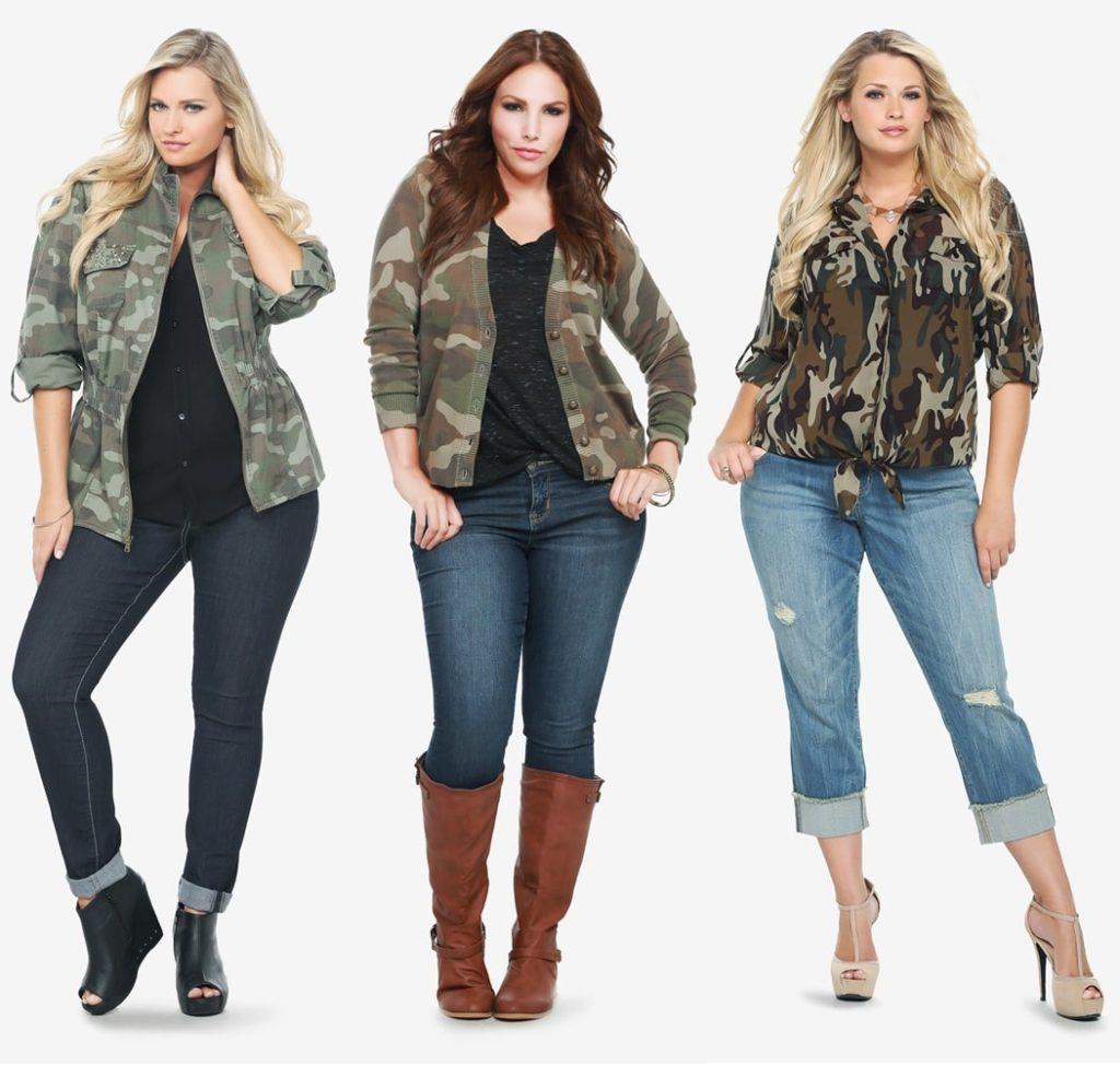 Камуфляж и джинсы на полных девушках