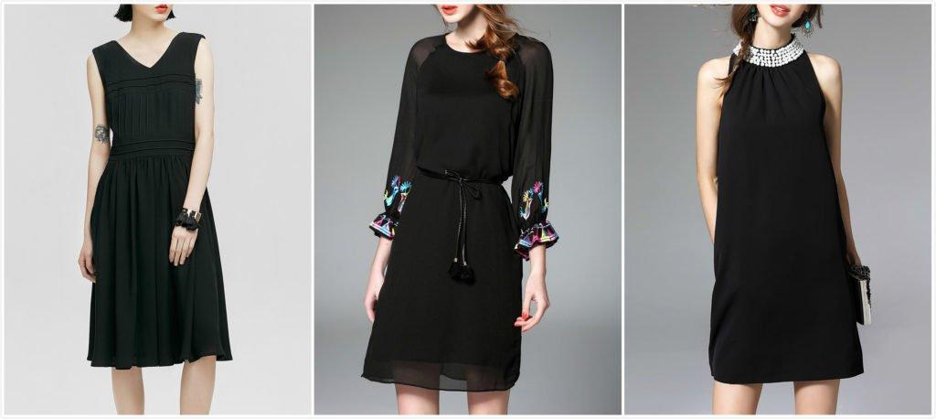 Чёрное платье без шва на талии, колени прикрыты