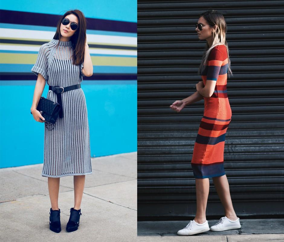 Современный модный образ - трикотажное платье