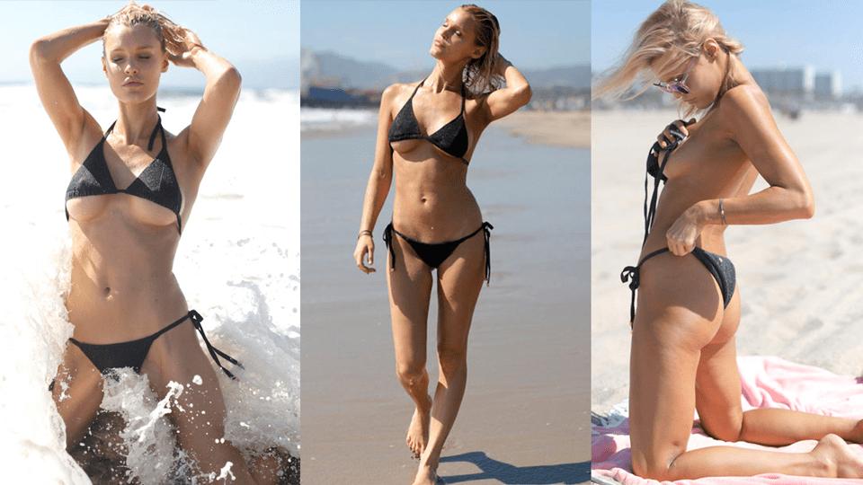 Модель Джой Корриган и её вызывающий пляжный образ